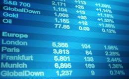 Экран данным по мирового рынка Стоковые Фотографии RF