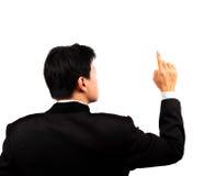 экран бизнесмена касатьясь детенышам Стоковые Изображения