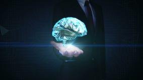 Экран бизнесмена касающий цифровой, низкий мозг полигона соединяет цифровые линии расширяя искусственный интеллект сток-видео