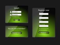 Экран-вектор имени пользователя и сети регистра Стоковое Фото