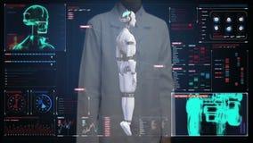Экран женского доктора касающий цифровой, просматривая тело киборга робота прозрачности в цифровом интерфейсе искусственный интел