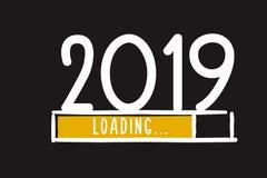 Экран загрузки Нового Года 2019 Doodle Бар прогресса почти достигая канун ` s Нового Года иллюстрация вектора