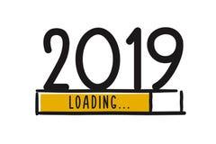 Экран загрузки Нового Года Doodle Бар прогресса почти достигая канун ` s Нового Года Иллюстрация вектора с загрузкой 2019 иллюстрация штока