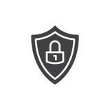 Экран защиты с вектором значка замка, заполненным плоским знаком, твердой пиктограммой изолированной на белизне Символ, иллюстрац Стоковые Изображения