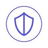 Экран, линия значок защиты круговая Круглый знак Плоский символ вектора стиля Стоковое Фото