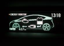 Экран дисплея гибридного автомобиля Стоковое Фото