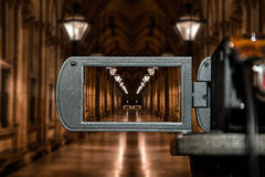 Экран дисплея на высокой телекамере определения, перспектива LCD кино архитектурноакустическая Стоковое Изображение
