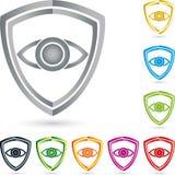 Экран и глаз, герб, собрание, безопасность и логотип экрана Стоковые Изображения