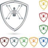 Экран и паук, герб, собрание, безопасность и логотип экрана Стоковые Фото