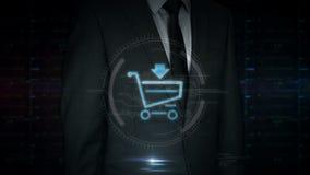 Экран касания бизнесмена с hologram символа корзины видеоматериал