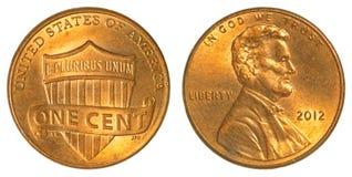 Экран Линкольна одна монетка цента Стоковое Изображение