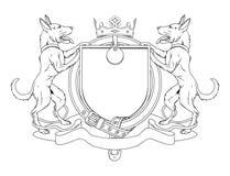 экран любимчиков собаки пальто рукояток heraldic Стоковое Изображение RF