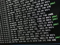 Экран минирования Cryptocurrency Стоковые Изображения RF
