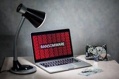 Экран портативного компьютера с сигналом тревоги нападения ransomware Стоковая Фотография RF
