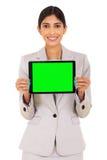 Экран планшета коммерсантки Стоковые Фото