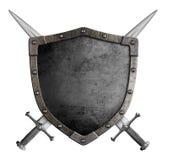 Экран рыцаря герба средневековый и пересеченный Стоковое Фото
