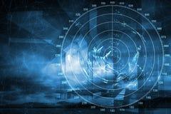 Экран современного радиолокатора корабля цифровой, абстрактное backgro Стоковая Фотография