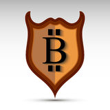 Экран с символом монетки бита Стоковая Фотография RF