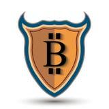 Экран с символом монетки бита Стоковая Фотография
