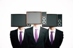 Экран ТВ возглавил бизнесменов иллюстрация вектора