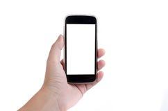 Экран телефона человеческой руки касающий умный на белой предпосылке стоковые фотографии rf