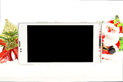 Экран умного телефона пустой в теме рождества Стоковое Изображение RF