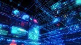 Экран цифров данным по компьютера интерфейса технологии акции видеоматериалы