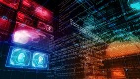 Экран цифров данным по компьютера интерфейса технологии сток-видео