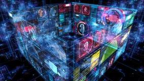 Экран цифров данным по компьютера интерфейса технологии иллюстрация вектора