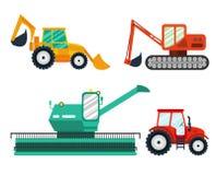 Экскаваторы, трактор, зернокомбайн на белой предпосылке Аграрный корабль, машина фермы иллюстрация штока
