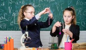 Эксперименты по науки в лаборатории Немногое работа ученого с микроскопом Урок школы биологии Исследование химии стоковая фотография