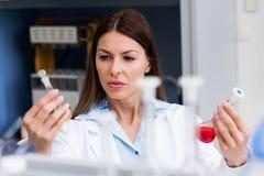 Эксперимент по приведения в исполнение ученого женщины в исследовательской лабаратории стоковые фотографии rf