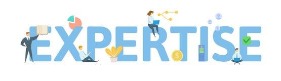 ЭКСПЕРТИЗА Концепция с ключевыми словами, письмами и значками r r иллюстрация штока