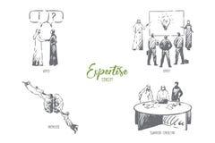 Экспертиза, совет, специалист, знание, эскиз концепции сыгранности советуя с бесплатная иллюстрация