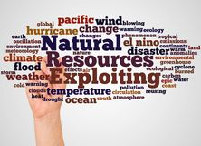 Эксплуатировать облако и руку слова природных ресурсов с жуликом отметки иллюстрация вектора