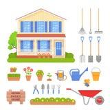 Экстерьер дома, набор садовых инструментов также вектор иллюстрации притяжки corel иллюстрация вектора