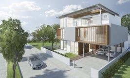 экстерьер перевода 3d современного дома с хорошим дизайном Стоковые Фотографии RF