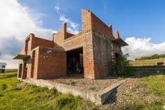 Экстерьер старого здания под конструкцией Оранжевый кирпич wal Стоковое Фото
