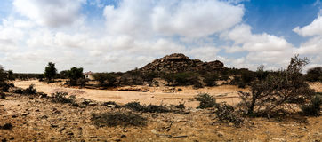 Экстерьер утеса Laas Geel картин пещеры, Харгейса, Сомали Стоковые Фотографии RF