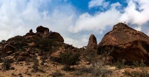 Экстерьер утеса Laas Geel картин пещеры, Харгейса, Сомали Стоковая Фотография