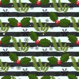 Элегантная безшовная картина с нарисованными рукой декоративными ветвями ели, элементами дизайна Смогите быть использовано для пр бесплатная иллюстрация