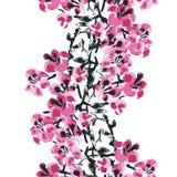 Элегантная безшовная картина с цветками Сакуры, элементами дизайна Стоковое Изображение RF
