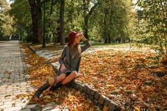 Элегантная белокурая женщина в сером платье knit и красной шляпе сидя на t Стоковое Изображение RF