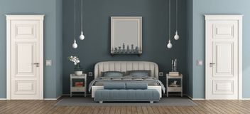 Элегантная голубая спальня хозяев иллюстрация штока