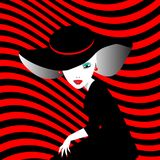 Элегантная дама в большой стильной шляпе Стоковое фото RF