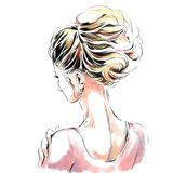 Элегантная девушка с красивой стрижкой вечера задний взгляд Линия искусство иллюстрация вектора