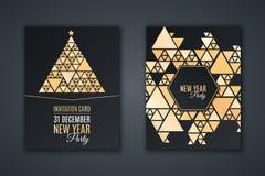 Элегантная карточка приглашения для партии ` s Нового Года Сделайте по образцу мозаику сделанную золотых сияющих треугольников на иллюстрация вектора