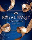 Элегантная карточка приглашения vip сини при текстурированное золото завила ленты золота также вектор иллюстрации притяжки corel бесплатная иллюстрация
