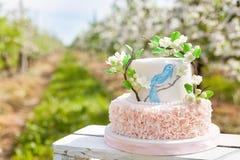 Элегантная свадьба или именниный пирог украшенный с ветвью цветения яблока Стоковая Фотография