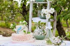 Элегантная свадьба или именниный пирог украшенный с ветвью цветения яблока Стоковые Изображения